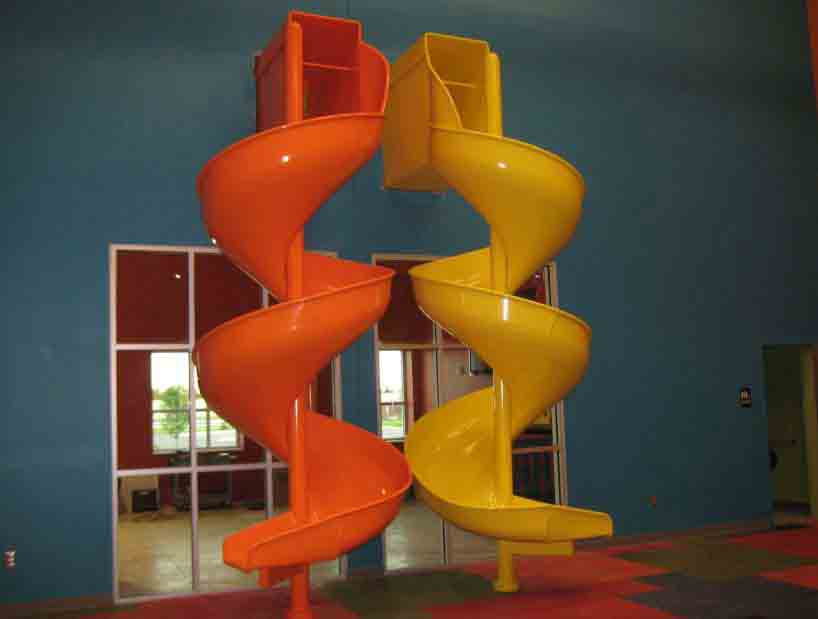 Indoor spiral slides